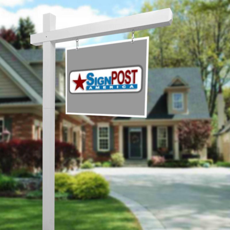 white sign post