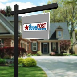black real estate sign post
