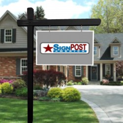 """black sign post with 18"""" tall x 30"""" wide sign"""