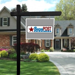 """black sign post with 18"""" tall x 24"""" wide sign"""