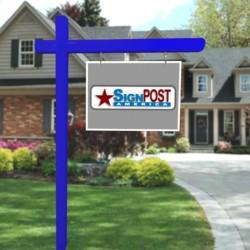 blue sign post